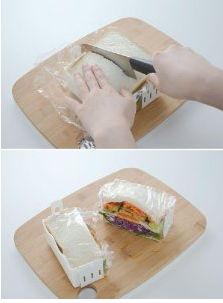 サンドイッチを半分にカット