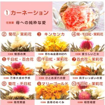 花咲く工芸茶10種とティーポット